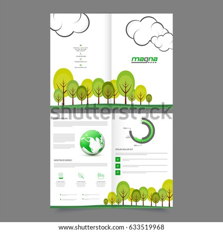four pages ecological brochure template design with green trees