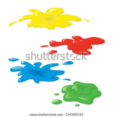 four paint blotches - stock vector