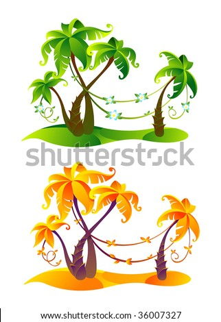 Four palm trees with sand and lians. Vector file.