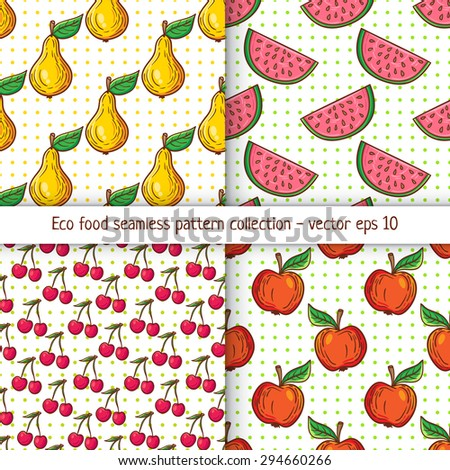 Four pattern designs with clean eating illustration background. Appetizing healthy food pattern with fruits. - stock vector