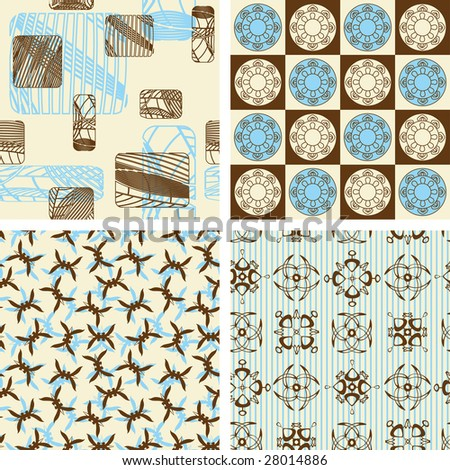 four pattern in abstract style - stock vector