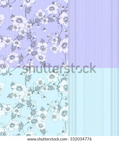 four pattern with flowers and strips in pastel blue and lilac colors, vector illustration - stock vector