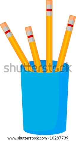 four pencils in a container - stock vector