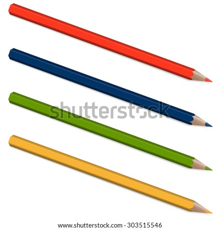four pencils with shadow in colors blue, red, green and yellow