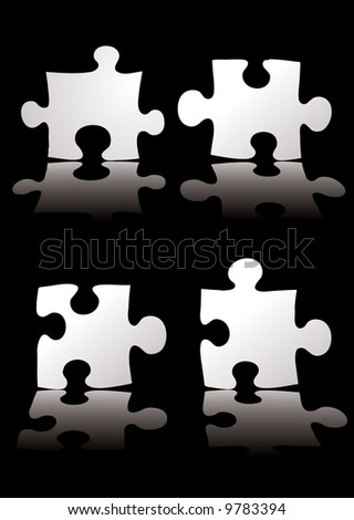 four piece puzzle black background with a shadow - stock vector