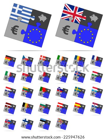 four pieces of puzzle on the euro and europe  - stock vector