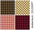 """Four """"pixel"""" houndstooth patterns in classic colors. 6"""" seamless repeat. - stock photo"""