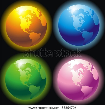 Four planets of different colors on a black background for your design - stock vector