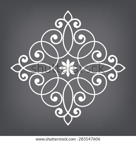 Four pointed circular pattern. Mandala. Round linear vector ornament  on dark background. - stock vector