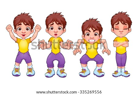 Four poses of the same child, in different expressions. Vector cartoon isolated characters. - stock vector