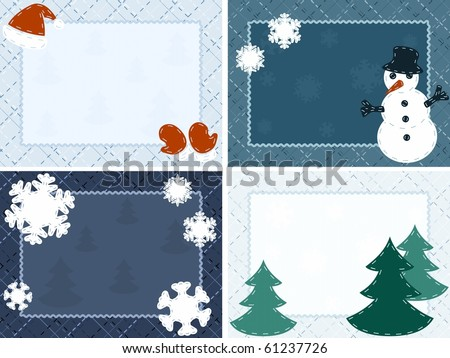Four quilted Winter postcards (Eps10); jpg version also available - stock vector