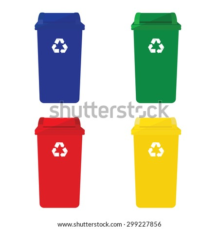Four recycle bins vector icon with recycling symbol red, blue, green and yellow.  - stock vector