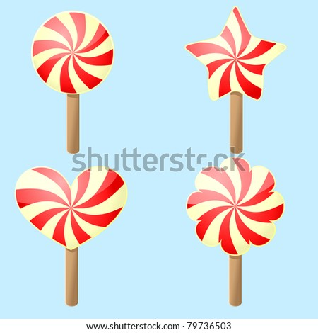 Four red and yellow candies different forms - stock vector