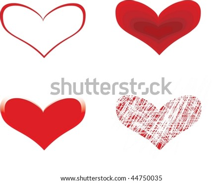 four red hearts  over white background - stock vector
