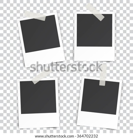 four Retro blank photography with a black place for your image in a photo album page. photo frame with shadow Sticked on tape on a transparent background for your object. Vector illustration - stock vector