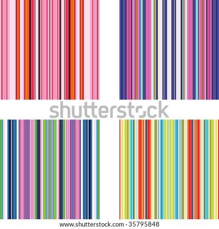 Four retro (seamless) vector stripe patterns in bright colors - stock vector