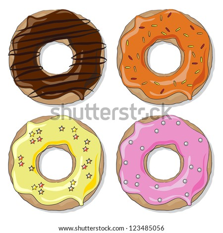 Four ring donuts over white background,  with a variety of flavours and toppings. EPS10 vector format - stock vector