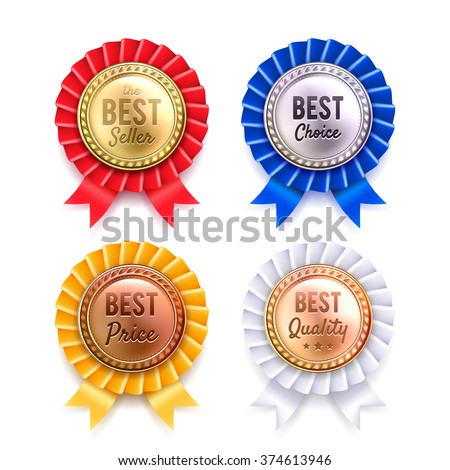 Four round best quality premium badges collection from gold silver bronze and copper realistic isolated vector illustration  - stock vector