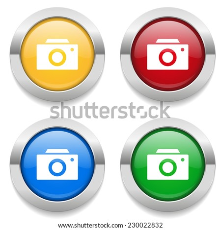 Four round buttons with camera icon and metallic border - stock vector