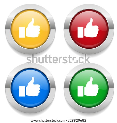 Four round buttons with thumb icon and metallic border - stock vector