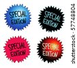 Four round starburst stickers with handwritten text SPECIAL EDITION - stock vector