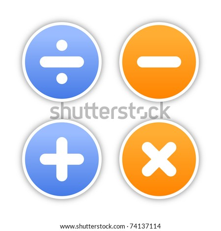 Four round stickers with mathematical sign and gray drop shadow on white. 10 eps