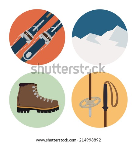 Four round vector icons of touring skiing elements featuring skis, winter hiking boots, skiing poles and mountains - stock vector