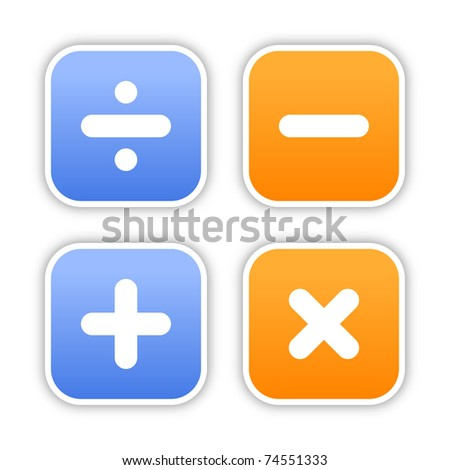 Four rounded square stickers with mathematical sign and shadow on white. 10 eps - stock vector