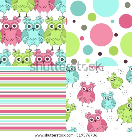 Four samples of fabric with owls on a white background - stock vector