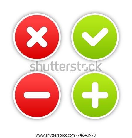 Four satined smooth validation stickers with drop gray shadow on white. 10 eps - stock vector