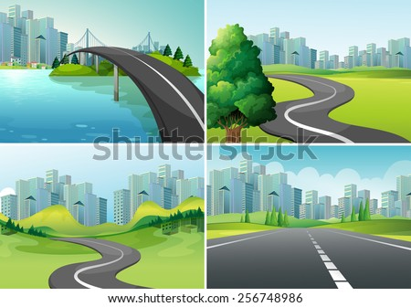 Four scenes of roads to the city - stock vector