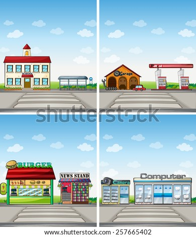 four scenes of stores at day time - stock vector