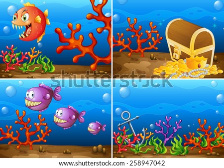 Four scenes of underwater lives