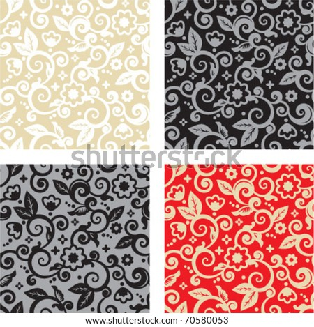 Four seamless floral patterns (backgrounds, wallpapers) - tan and white, gray and black, red and gold