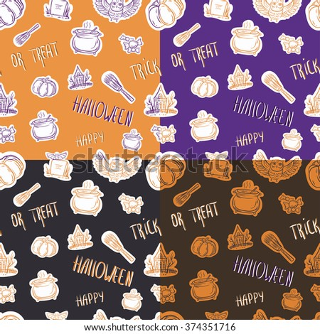 Four seamless halloween pattern with different elements.Can be used as a greeting card on a Halloween, invitation, background or any other design.