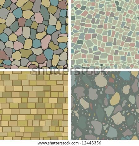 four seamless masonry patterns - stock vector