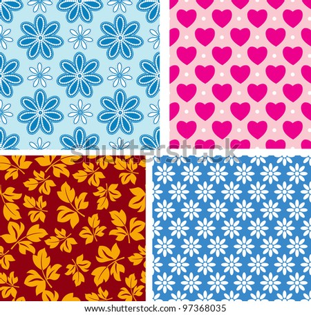 Four seamless pattern with children's area - stock vector