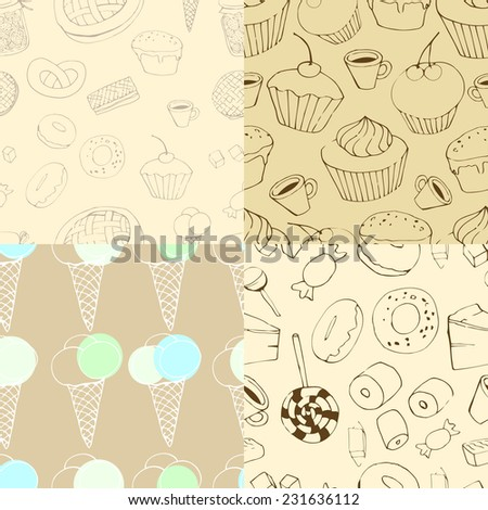 four seamless patterns. Holiday seamless pattern  with macaroon, coffee and cupcakes - stock vector