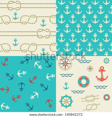 Four seamless patterns of marine symbols. Use to create quilting patches or seamless backgrounds for various craft projects.