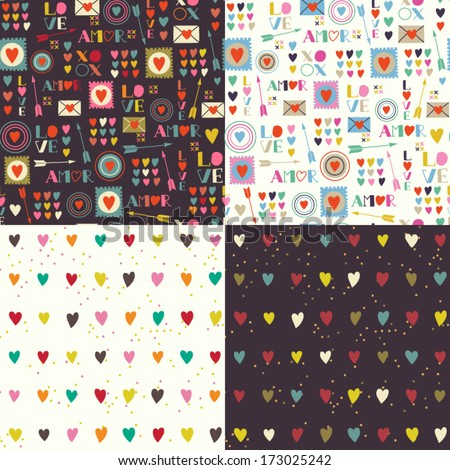 Four seamless patterns of Valentines day with colorful hearts and letters. Valentines hearts. Kids elements for scrap booking. Childish background. Hand drawn vector illustration.  - stock vector