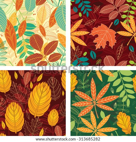 Four seamless patterns with autumn leaves - stock vector