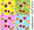 Four seamless patterns with subject candy- Gradient mesh-Eps 10 - stock vector