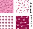 Four seamless pink wallpapers patterns - stock vector