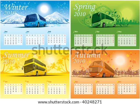 four-season calendar - stock vector