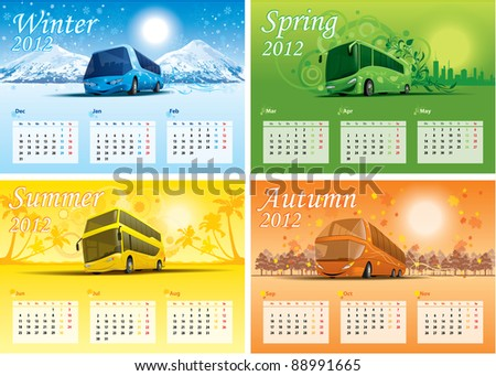 four-season calendar 2012 - stock vector