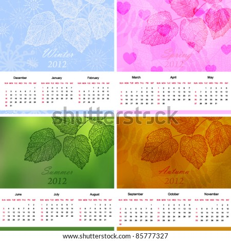 Four season calendar page of new 2012 year with background (vector eps 10) - stock vector