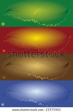 Four season coloured banners, vector illustration