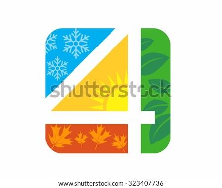 4 seasons logo icon vector stock vector 339050570