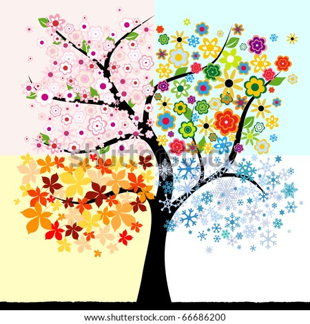 Four season tree - stock vector