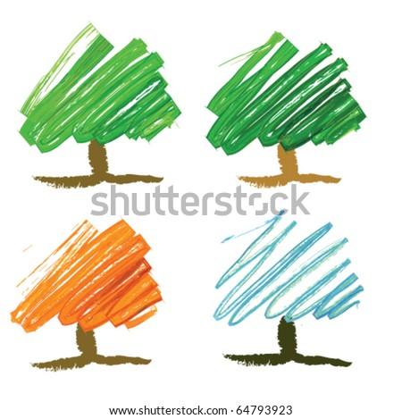 Four seasonal tree drawing - stock vector